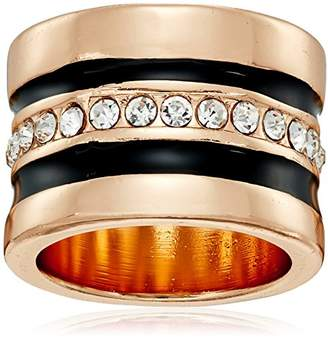 "GUESS Basic"" Jet and Gold Wide Band with Enamel and Stones Ring"