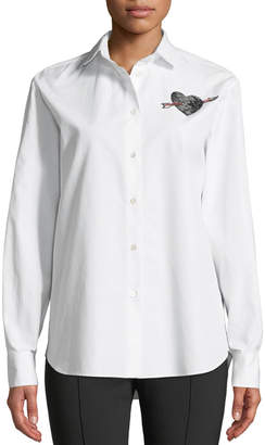 Valentino Long-Sleeve Button-Front Poplin Shirt with Love-Heart Embroidery