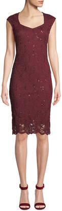 Neiman Marcus Lace Sweetheart Body-Con Dress