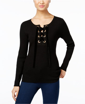 INC International Concepts Lace-Up Sweater, Only at Macy's $79.50 thestylecure.com