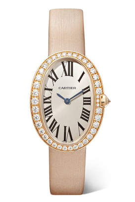 Cartier Baignoire 24.5mm Small 18-karat Pink Gold, Toile Brossée And Diamond Watch - Rose gold