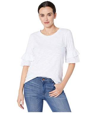 True Grit Dylan by Ruffle Short Sleeve Tee with Eyelet and Embroidery