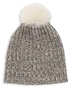 7023863c0 Women's Fox Fur Pom-Pom Lurex Cashmere Beanie