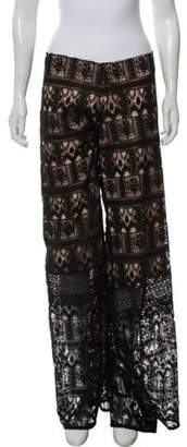 Alexis Mid-Rise Wide-Leg Lace Pants Black Mid-Rise Wide-Leg Lace Pants