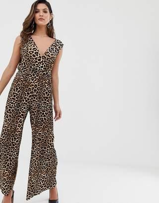 Liquorish wide leg jumpsuit in leopard print