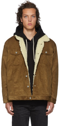 Naked & Famous Denim Denim SSENSE Exclusive Brown Oversized Sherpa Jacket