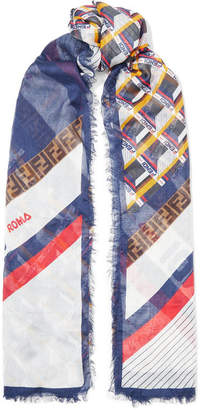 Fendi Frayed Printed Modal And Silk-blend Scarf - White