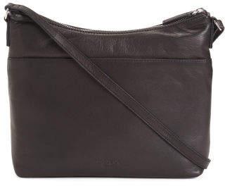 Mary Scoop Double Zipper Leather Crossbody
