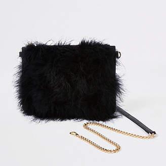 River Island Black marabou feather cross body pouch bag