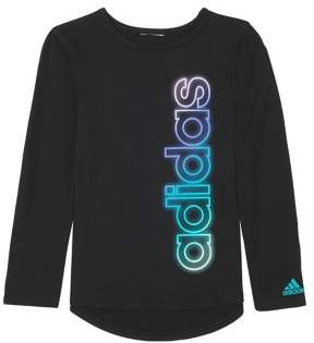 adidas Little Girl's Long-Sleeve 3-Stripes Life Tee