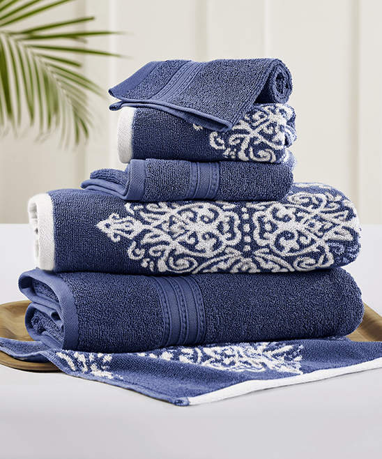Indigo Artesia Damask & Solid Six-Piece Towel Set