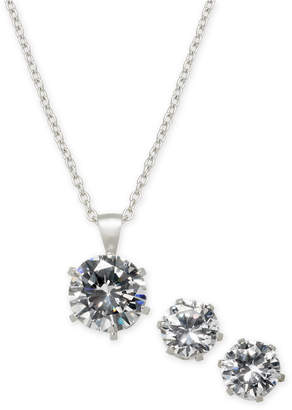 Giani Bernini 2-Pc. Cubic Zirconia Pendant Necklace & Stud Earrings Set in Sterling Silver in Recordable Light Up Box