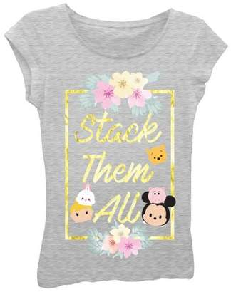 """Disney Tsum Tsum Girls' """"Stack Them All"""" Short Sleeve Graphic T-shirt With Gold Cracked Foil"""