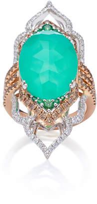 Sara Weinstock 18K Gold, Chrysoprase, Tsavorite And Diamond Ring Size