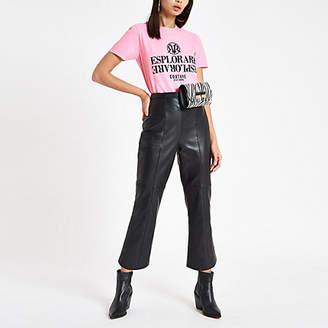 River Island Womens Pink 'Esplorare' fluro print T-shirt