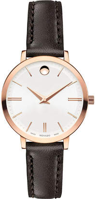 Movado 0607096 Ultra Slim rose-gold PVD stainless steel and leather watch