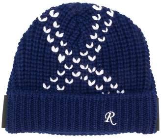 Raf Simons contrast stitch beanie hat