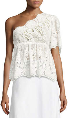 Miguelina Eleanor One-Shoulder Lace Top