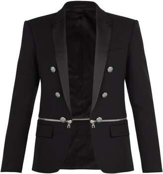Balmain Zipped-panel cotton blazer