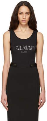 Balmain Black and Silver Knit Logo Bodysuit