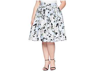Unique Vintage Plus Size High Waist Swing Skirt