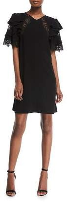 Rebecca Taylor Short-Sleeve A-Line Crepe Dress w/ Lace