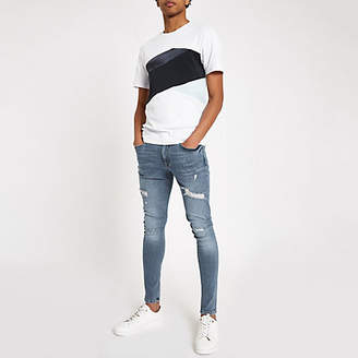 River Island Blue Ollie spray on distressed skinny jeans