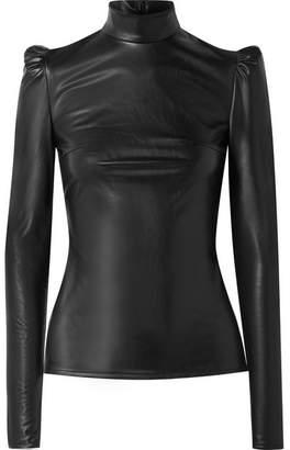 Pushbutton - Faux Leather Turtleneck Top - Black