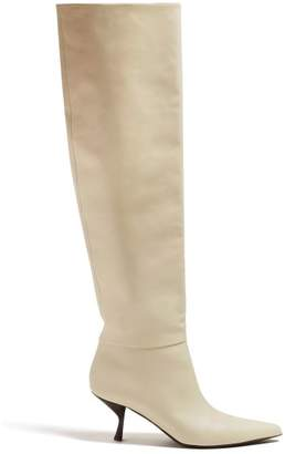 The Row Bourgeoise Knee High Leather Boots - Womens - Cream