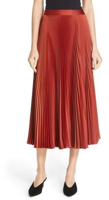A.L.C. Bobby Pleated Satin Midi Skirt