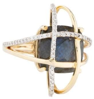 Arya Esha 14K Labradorite & Diamond Galaxy Orbit Ring