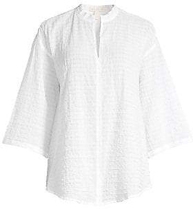 Eileen Fisher Women's Organic Cotton Voile Three-Quarter Sleeve Blouse