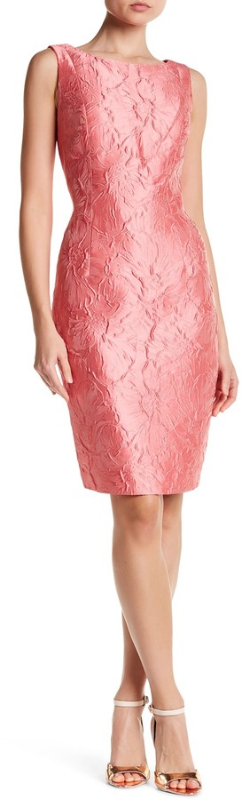 Carmen Marc Valvo Carmen Marc Valvo Sleeveless Embroidered Floral Dress