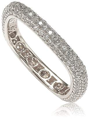 LeVian Suzy Jewelry Sterling Silver Pave CZ Square Stackable Eternity Band Ring