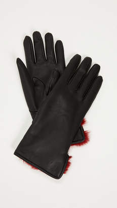 Salvatore Ferragamo Leather & Fur Gloves