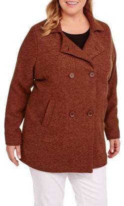 Maxwell Studio Women's Plus-Size A-Line Boucle Peacoat