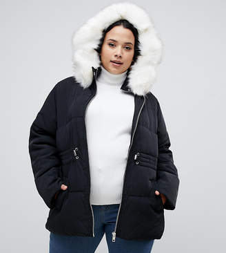 Asos DESIGN Curve puffer jacket with waist detail and faux fur hood
