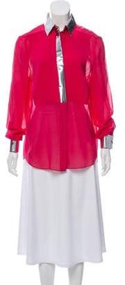 3.1 Phillip Lim Patent Leather Semi-Sheer Blouse Magenta Patent Leather Semi-Sheer Blouse
