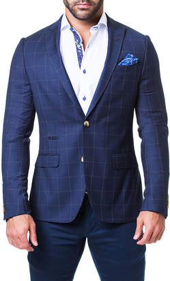 Maceoo Men's Descartes Rain Blue Sports Blazer