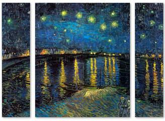 "Trademark Global Vincent van Gogh 'The Starry Night II' Multi Panel Art Set Large - 41"" x 30"" x 2"""
