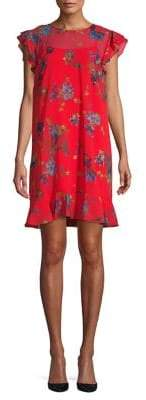 Cynthia Steffe CeCe by Flutter Sleeve Watercolor Floral Dress