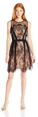 XOXO Women's Delicate Floral Scallop Lace Skater Dress