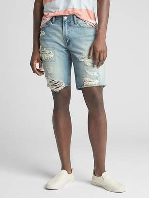 "Gap 10"" Destructed Denim Shorts in Slim Fit with Tropical Print Detail"