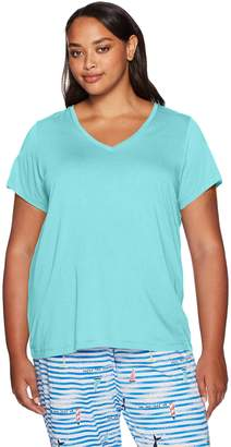 Hue Women's Plus-size Solid Short Sleeve V-neck Sleep Tee, Plus Size Sleepwear,