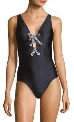 Shoshanna One-Piece Shiny Lace-Up Swimsuit