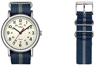 Timex Unisex Special Weekender Slip Through Quartz with Off- Dial Analogue Display and Nylon Slip Strap (Blue)