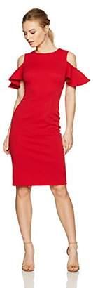 London Times Women's Petite Cold Shoulder Midi Scuba Crepe Sheath Dress