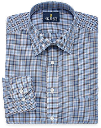 STAFFORD Stafford Travel Easy Care Broadcloth Long Sleeve Broadcloth Pattern Dress Shirt