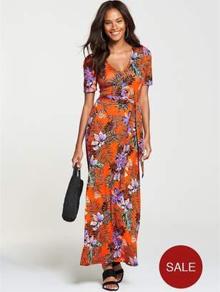 Very Petite Deep V Jersey Maxi Dress - Tropical Print