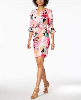 Nine West Floral-Print Bell-Sleeve Dress